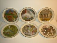 "6 PC Vtg 1980 Chicago Collection Franklin McMahon 8"" Plates Buckingham Fountain"