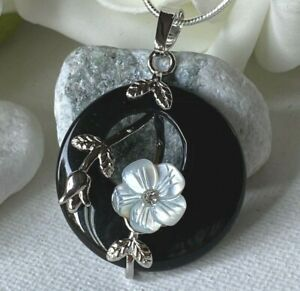 Circle Real Black Onyx Stone Flower pendant Long Snake Silver Chain necklace UK