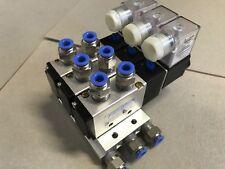 4V210-08 3 Station pneumatique Electrovanne collecteur AC 220 V 5/2 Solénoïde/Printemps