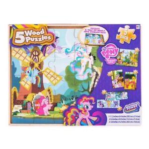 My Little Pony 5 In One Wood Jigsaw Puzzle Set & Storage Tray Rainbow Power New