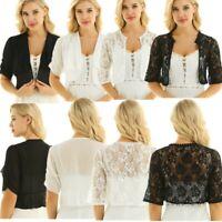 Womens Half Sleeve Cropped Bolero Shrug Top Ladies Cardigan Chiffon/ Lace Style