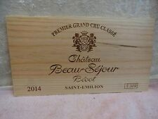 2014 CHATEAU BEAU SEJOUR BECOT LION  KNIGHT WOOD WINE PANEL END