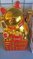 Large Gold colour Chinese Lucky Cat Waving Moving Arm Decoration new 21 cm A