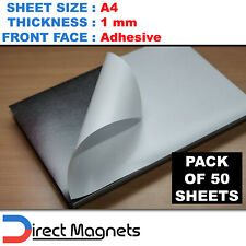50 x A4 Magnetic Magnet Sheets Adhesive Front - School Wedding Office 1mm 1.0mm