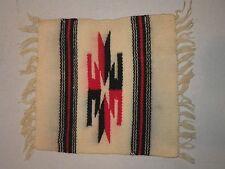 Antique Southwestern White Woven Rug Blanket Salesman Sample Fringed