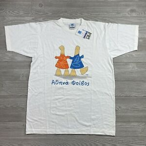 Vtg Athens 2004 Olympic Games Athena & Phoivos T Shirt Large Deadstock M10