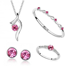 4 PIECE SILVER NECKLACE EARRING RING & BANGLE SET IN PINK **UK SELLER**