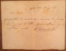 Lettera firmata da Giuseppe Garibaldi