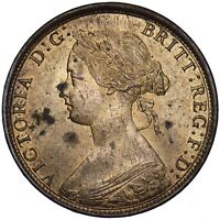 1862 HALFPENNY - VICTORIA BRITISH BRONZE COIN - SUPERB