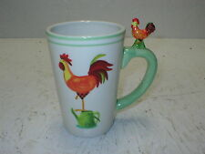 2007 Le Gourmet Chef Botanical Roosters Large Chicken Mug Cup