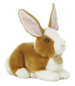 Miyoni Realistic 10 in White and Brown Laying Easter Bunny Life Like. Detailed!