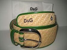 $325 NEW DOLCE & GABBANA D&G Womens 30 IN 75 CM Belt Silver Buckle Textile Green
