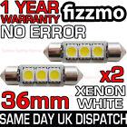 2x 3 SMD LED 36mm C5w Canbus Errore Xenon Bianco Luce Targa Bulbo Festone