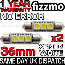 2x 3 SMD LED 36mm C5W Canbus Errore Xenon Bianco Targa Luce Festoon BULB