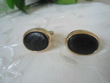 "Vintage State Gold Plated Black Button Style Mens Cufflinks signed ""USA"""