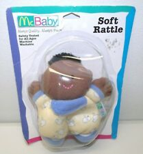 MCDONALD'S MCBABY CLOTH BABY DOLL PLUSH RATTLE BLUE YELLOW BABY OF COLOR BLACK