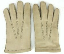 Vintage Marshall Field Tan Leather Gloves Sz 9.5 Made Holland Multi seam Glove
