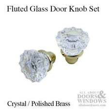 Vintage-Looking Brass and Glass Door Knobs for Old Style Mortise Lock