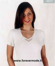 3 T-Shirts Woman Intissimopiu short Sleeve IN Wool Blend Edge Lace Art. 4893