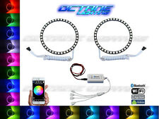 120mm Headlight Multi-Color Changing LED Shift RGB Halo Ring BLUETOOTH Pair