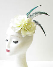 Cream Ivory Green Peacock Feather Rose Flower Pillbox Hat Races Fascinator 1903