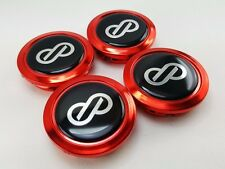 CENTER CAPS HUB WHEEL RED CHOME LOGO Black ENKEI 58mm. Car Racing Sport NEW 4pcs