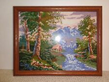 VINTAGE EMBROIDERED 17 X 13 COUNTRY  HOUSE MOUNTAINS FRAMED PICTURE WITH GLASS
