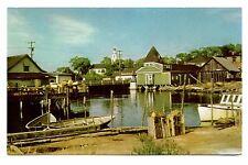 Harbor View Kennebunkport Maine Vintage Postcard Congregational Church Boats