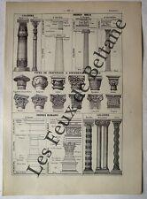 Document Ancienne planche Architecture colonnes grecques et romaines  1922