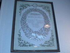 Early 1900's Eben-Ezer German 25th Wedding Anniversary Silver Wreath w/verse
