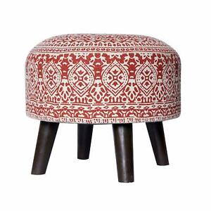 Handmade Round Footstool Ottoman Pouf for Living Room Sitting Printed Wooden leg