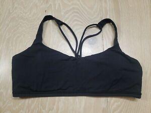 "LULULEMON ""Free To Be"" Sports Bra Size 10 Black Gym Yoga Run Workout Padded Gym"