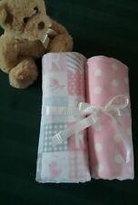 Hand made 2 x newborn baby wrap rug throw cotton flanellette 0-12 mths