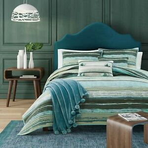 """J. Queen New York Twin Coverlet Cordoba Forest New 64""""x90"""" Teal/Green/Turquoise"""