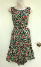 TOTEM Colourful Art Print Viscose Wrap Across Skirt Ruffle Feature Dress sz 3/12