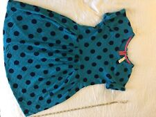 Cat And Jack Bright Blue Greenish With Navy Blue Polka Dot Dress 14/16 Junior
