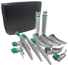 Laryngoscope Set 12pcs Intubation Blades 2 Handles Fiber Optic Kit