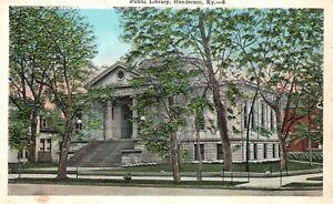 Vintage Postcard 1920's Public Library Henderson KY Kentucky