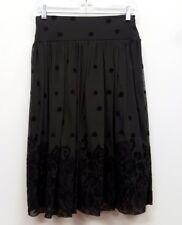 RONEN CHEN Size 0 Black Pull On Velvet Embroidered Floral Paisley Midi Skirt
