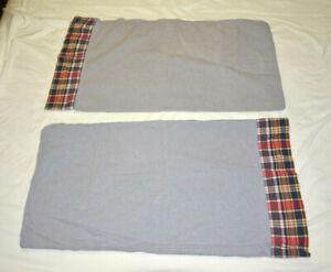 Ralph Lauren Denim Blue Chambray Pillowcases Plaid hem PAIR USA Standard EUC