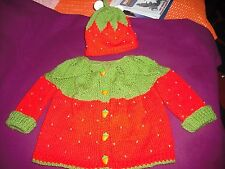 girls hand knitted strawberry hat and cardigan,3-6 months.