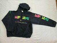 Vtg Surf Style Neon Black Windbreaker Jacket Interplanetary BodyGear Large/XL OS