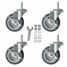 """3"""" Caster Wheels with Locking Brakes  Rubber Heavy Duty M8 x 1.5"""" Threaded Stem"""