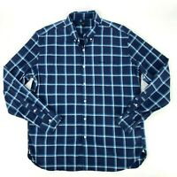 J. Crew Shirt Men's XL Blue Checkered Plaid Button Down Long Sleeve Collared