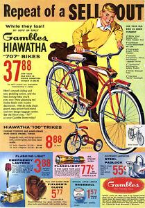 Gambles  Hiawatha  707 bicycle Ad 1950s  8 x 10 Giclee Print
