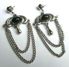 boucles d'oreilles percées bijou rétro couleur argent longues chaînettes 2915
