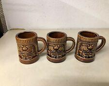 SET OF THREE VINTAGE ORCHID OF HAWAII JAPAN TIKI MUGS CUPS