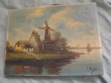 Antique 19th C. Dutch School Oil on Canvas River Landscape w/ Windmill Painting