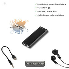 REGISTRATORE VOCALE MICRO SPY 16GB AUDIO SPIA AMBIENTALE MP3 MINI REC PRO DRIVE