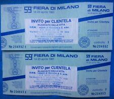 Fiera Di Milano 1981 Lotto 2 Biglietti Non Usati Numeri Consecutivi Inviti